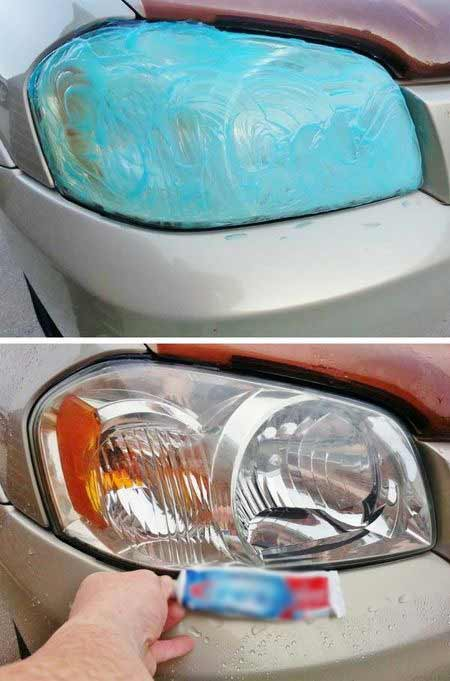 Cleaning car headlights with toothpaste, cleaning car headlights, scratching car headlights